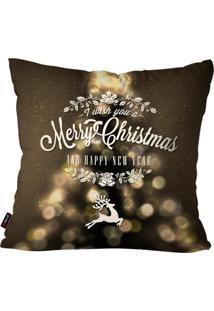 Capa De Almofada Pump Up Decorativa Avulsa Natalina Merry Christmas Preto 45X45Cm