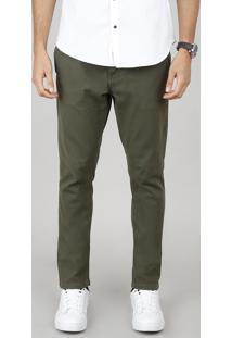 Calça De Sarja Masculina Chino Slim Com Cinto Verde Militar
