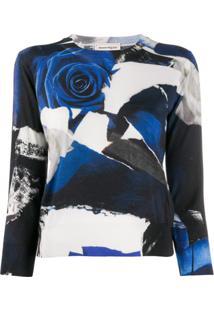 Alexander Mcqueen Suéter Cropped Com Estampa De Rosa - Preto