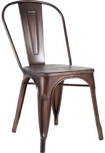 Cadeira Tolix Iron Com Assento Madeira - Bronze Envelhecido