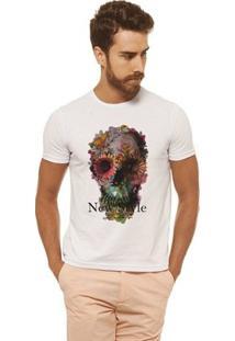 Camiseta Joss - Caveira Rosas - Masculina - Masculino-Branco
