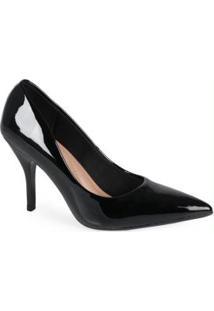 Sapato Scarpin Fem Conforto Envernizado Preto Preto
