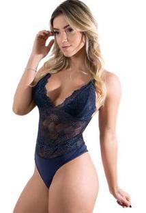 Body Diluxo Rendado Anita Feminino - Feminino-Azul