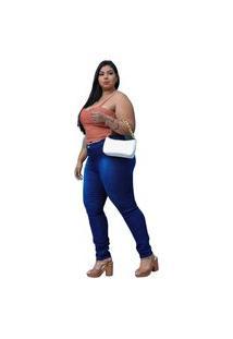 Calca Justa Jeans Plus Sise Tamanho Grande 44 Ao 56 Modela Corpo Azul