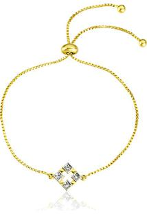 Pulseira Horus Import Pingente Ao Quadrado Banhada Em Ouro Amarelo 18 K - 1080015