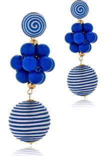 Brinco Le Diamond Fios De Seda E Cacho De Resinas Azul - Azul - Feminino - Dafiti