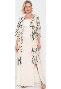Kimono Folhagens - Off White & Verde Escuro - La Conla Concha