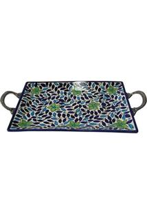 Bandeja Retangular Decorativa Btc Em Cerâmica Com Hastes Em Metal 6 X 35 X 25 Cm - Azul/Verde