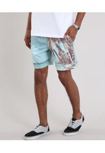 Bermuda Masculina Com Estampa De Coqueiro E Bolsos Verde