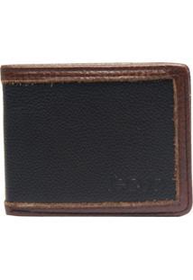 Carteira Em Couro Recuo Fashion Bag Preto/Caramelo