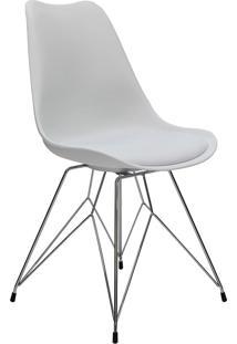 Cadeira Com Couro Mkc-040-Marka Móveis - Branco