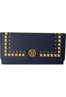 Carteira V&V Finder Tachas Douradas Azul Escuro - Kanui