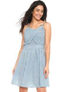 Vestido Lily Fashion Curto Xadrez Azul/Branco