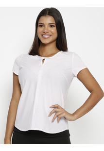 Blusa Listrada Com Recorte- Branca & Rosa Claro- Vipvip Reserva