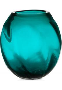 Vaso Em Vidro Dalian 17Cm Turquesa