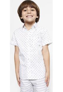 Camisa Geométrica Com Bolso - Branca & Azul Marinhoogochi