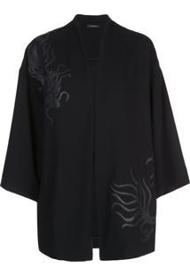 Natori Kimono Com Aplicação De Dragão - Preto