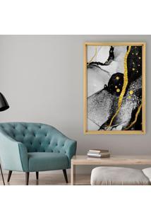 Quadro Love Decor Com Moldura Chanfrada Abstrato Madeira Clara - Grande