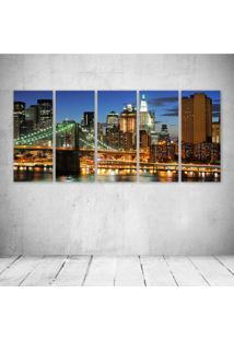 Quadro Decorativo - New York City (3) - Composto De 5 Quadros - Multicolorido - Dafiti