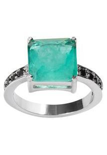 Anel Quadrado The Ring Boutique Pedra Cristal Turmalina Fusion Ródio Ouro Branco