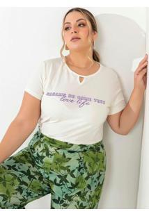 Blusa Off White Com Estampa Na Frente Plus Size