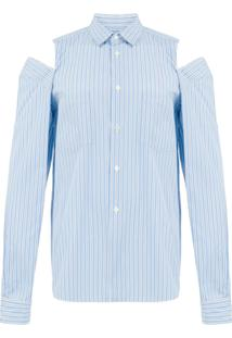 Comme Des Garçons Homme Plus Camiseta Com Detalhes Rasgados - Azul