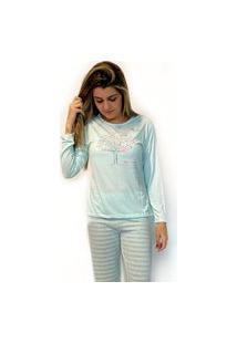 Pijama Feminino Plus Size Blusa Manga Longa E Calça