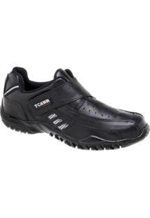 Sapatênis De Couro Tchwm Shoes Com Fechamento Em Velcro - Masculino-Preto