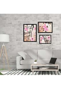 Kit 3 Quadros Com Moldura Flowers Pink