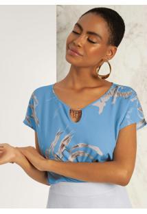 Blusa Em Tecido Com Aviamento Azul