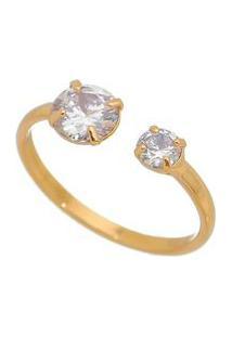 Anel Banhado A Ouro Com Zircã´Nia- Incolor & Dourado-Isabela Borgonian