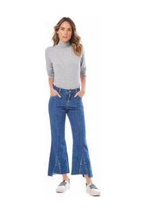 Calça Maria.Valentina Cropped M. Luiza Cós Intermediário Barra Assimétrica Jeans