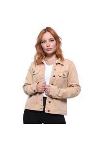 Jaqueta Feminina Jeans Color Crocker Camel Honey Gold