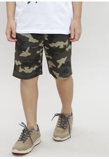 Bermuda Infantil Em Moletom Estampada Camuflada Verde Militar