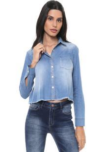 Camisa Jeans Cropped Malwee Desfiada Azul