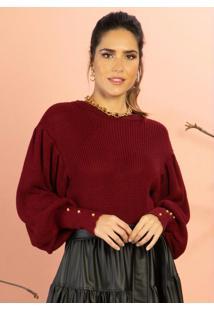 Blusa De Tricô Vinho Com Botões Nos Punhos