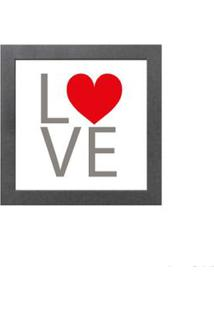 Quadro Decorativo Love 23X23Cm Cinza Infinity