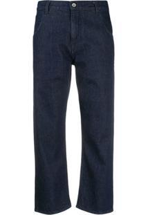 Ymc Calça Jeans Reta Cropped - Azul