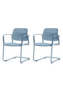 Kit 2 Cadeiras Leaf Com Bracos Base Fixa Azul - 57404 Azul