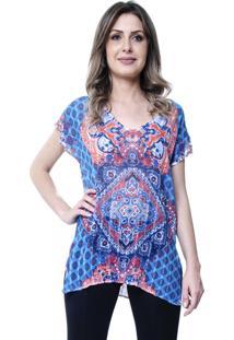 cec03e97c7 ... Blusa 101 Resort Wear Tunica Decote V Fendas Étnico Azul