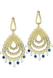 Brinco Banho De Ouro Longo Arabesco Com Cristal E Perola - Feminino-Azul+Branco