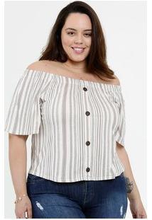 Blusa Feminina Ombro A Ombro Listrada Plus Size Marisa