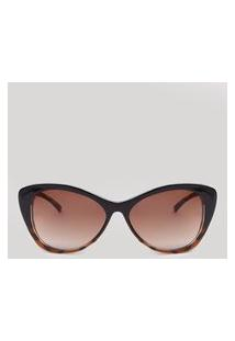 Óculos De Sol Gatinho Feminino Oneself Marrom Escuro