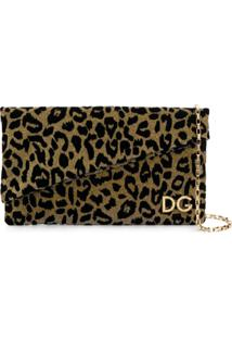 Dolce & Gabbana Bolsa Clutch 'Dg Girls' Com Animal Print - Metálico