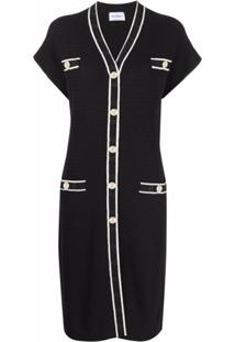Salvatore Ferragamo Short Sleeve Cardigan Dress - Preto