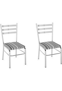 Kit 2 Cadeiras Pc09 Assento Listrado Preto - Pozza