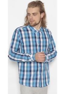 Camisa Xadrez Slim Fit- Azul & Brancaogochi