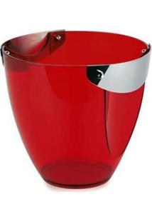 Balde Para Garrafa Forma Lotus 2134/R Em Aço Inox E Poliestireno Vermelho - 4 L