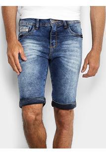 Bermuda Jeans Preston Bigode Barra Dobrada Masculina - Masculino
