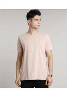Camiseta Masculina Básica Com Bolso Manga Curta Gola Careca Rosê